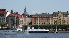 Classic cruise ship in front of Östermalm in Stockholm Sweden Stock Footage