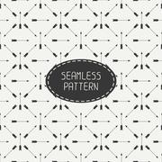 Stock Illustration of Geometric monochrome hipster line seamless pattern with vintage arrows. Wrapping