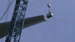 Attach a wind turbine personnel hoist cage to rotor blade wind turbine Stock Footage