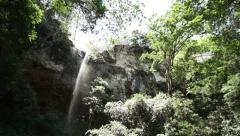 Cliff Waterfall panorama Stock Footage
