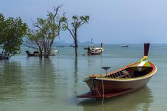 Longtail Boats in Koh Mook Coast Line. - stock photo