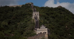 4K video of a elevated section of the famous Great Wall of China Stock Footage