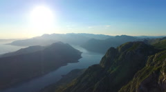 View from 800 meters heigh to the Kotor Bay in Montenegro Stock Footage