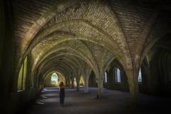 Fountains Abbey  Cellarium ghost - stock photo