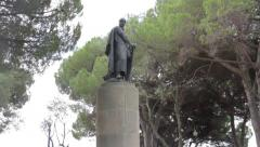 Knight Martim Moniz statue at São Jorge Castle Stock Footage