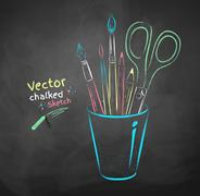 Art tools in holder Stock Illustration
