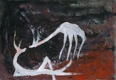 deers painting acrylic - stock illustration