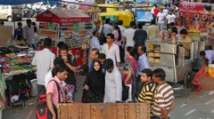 Busy street market in front of Palika Bazaar, connaught place,New Delhi,India Stock Footage