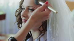 Makeup For The Bride. Wedding day. - stock footage