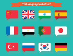 National flag dialog bubble set flat design - stock illustration