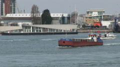 Cargo Barge Moving on Water by Gosport and Portsmouth Harbour in Hampshire Stock Footage