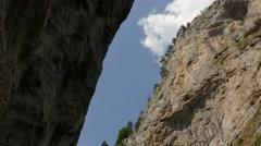 Narrow road through the Trigrad Gorge. Stock Footage