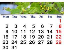 Calendar for May 2016 with alder leaves Stock Illustration
