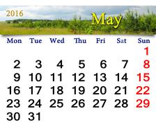 Calendar for May 2016 with thunder landscape Stock Illustration