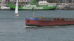 Cargo Barge Moving on Water by Haslar Marina Boat in Gosport and Portsmouth H Stock Footage