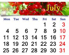 Calendar for July 2016 with snowball tree Stock Illustration