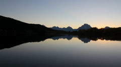 Grand Teton National Park in autumn - Oxbow Bend Sunset pan Stock Footage