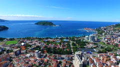 Adriatic Sea Coast Landscape. Budva town, Montenegro - stock footage