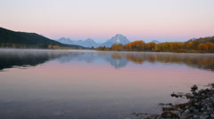 Grand Teton in autumn - Oxbow Bend Sunrise Stock Footage