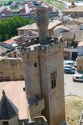 Pinnacle of the corner tower in Olite Stock Photos