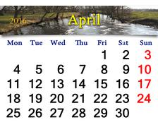 Calendar for April 2016 with image of flood Stock Illustration