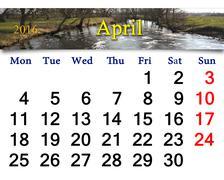 calendar for April 2016 with image of flood - stock illustration