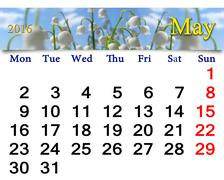 calendar for May 2016 with lily of the valley - stock illustration