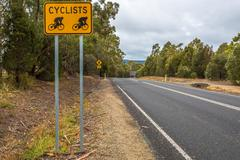 Cyclists road sign - stock photo