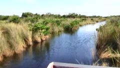 Airboat Ride through Grassy Swamps of the Everglades, Florida - stock footage