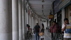 Shopping street on Connaught Place,New Delhi,India Stock Footage