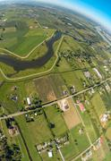 Aerial view of rural area of the Fraser Valley, BC Canada - stock photo