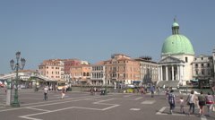 Crowded with people, gondolas and water taxi at pier Canal Grande, time lapse Stock Footage
