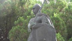 Knight Martim Moniz statue at São Jorge Castle in Lisbon Stock Footage