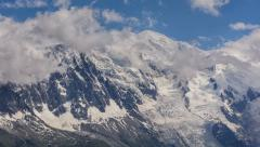Mont Blanc north face and glaciers clouds and fog time lapse Stock Footage