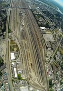 Aerial view of Port Coquilam BC and train yard, BC Canada Stock Photos