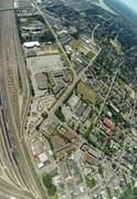 Aerial view of Port Coquilam BC and train yard, BC Canada - stock photo