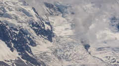 Hanging glaciers below Mont Blanc peak time lapse - stock footage