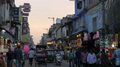 Paharganj main bazaar street in evening,New Delhi,India Stock Footage