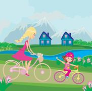 Mother and daughter biking - stock illustration