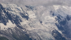 Clouds gathering over Glaciers at the bottom of Mont Blanc time lapse 4K Stock Footage