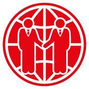 Global partnership icon - stock illustration