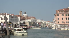 Ponte degli Scalzi and Ferries in Venice Italy Stock Footage