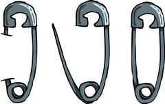 Safety pins Stock Illustration