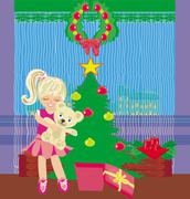 Girl opening a Christmas present box with a wonderful surprise Stock Illustration