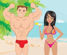 Young couple flirt in a tropical landscape Stock Illustration