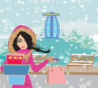 Stock Illustration of beautiful woman doing the shopping in winter