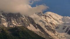Mont Blanc mountain peak clouds time lapse Stock Footage