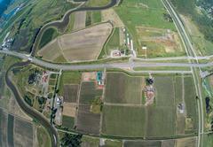 Aerial view of farmland in Surrey, BC Canada - stock photo