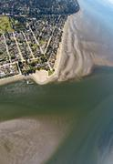 Aerial view of tidal flats at Boundary Bay Crescent Beach, BC Canada - stock photo