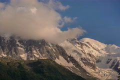Mont Blanc and Aguille du Midi cable railway station bing covered in clouds Stock Footage